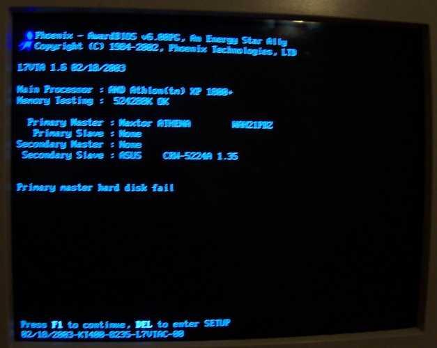 HDD maxtor fail